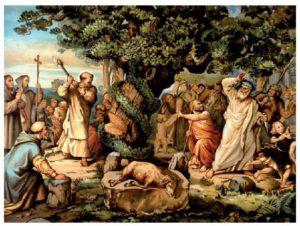 Bonifatius hakt een heilige eik van de heidenen om. Bonifatius wordt