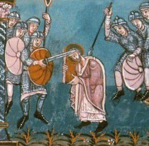 Bonifatius wordt bij Dokkum vermoord door de Friezen.