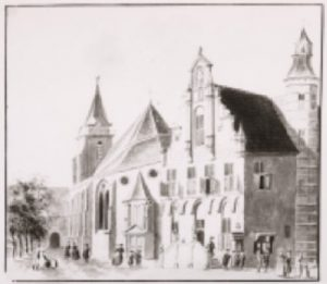 Tekening van Cornelis Pronk met de Petruskerk omstreeks 1730